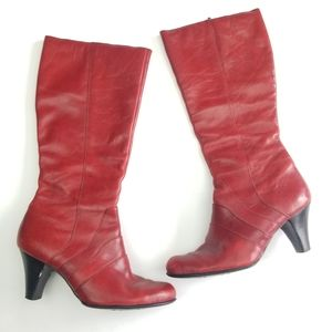 Born | Red Leather Calf High Heeled Confort Boots